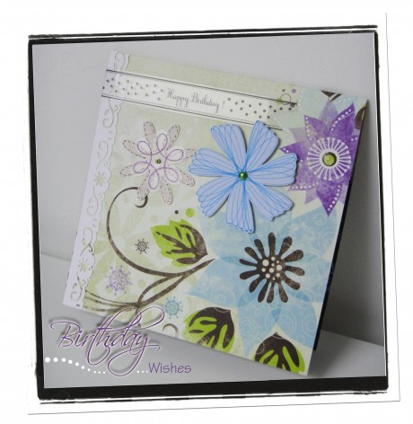 Card, scrap, happy birthday, flower, spirograph