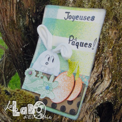 carte, lapin, feutrine, couture, scrap, spray, masking tape