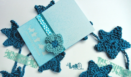 carte, scrap, crochet, bleu