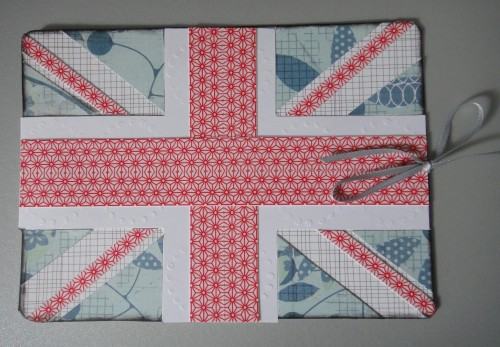 Union Jack, masking tape, Happy Birthday, card